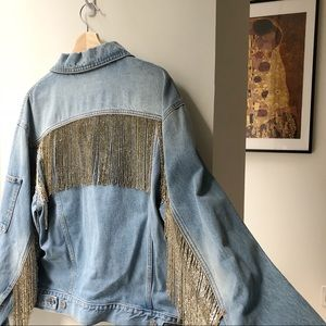 Helmut Lang beaded fringe denim jacket
